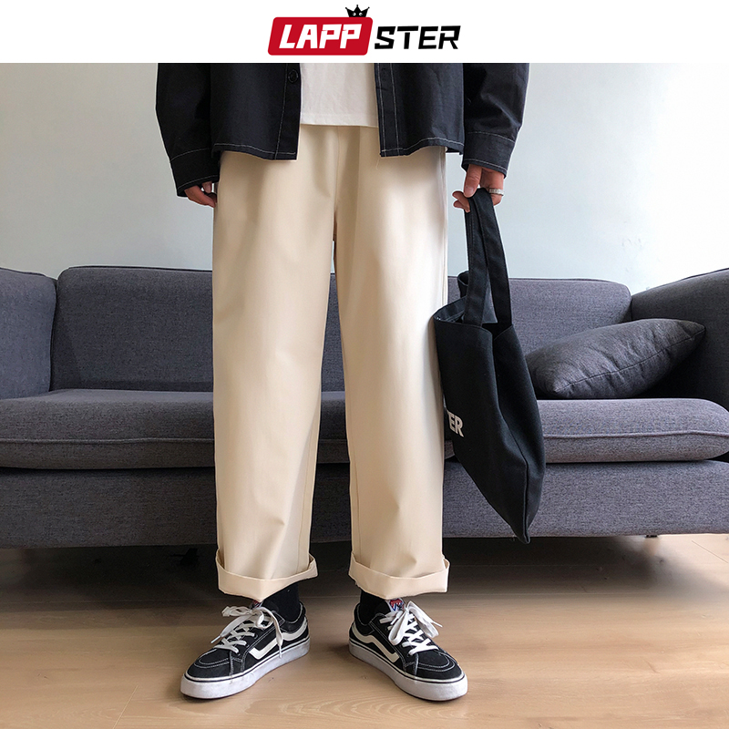 LAPPSTER Men Harajuku Kpop Harem Pants 2020 Colorful Man Japanese Streetwear Joggers Pants Male Vintage Beige Spring Sweatpants