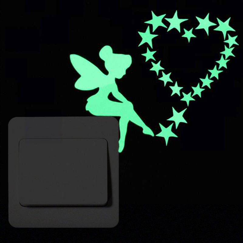 3D-wall-stickers-for-kids-rooms-cat-Luminous-Sticker-glow-in-the-dark-stars-fairy-wall
