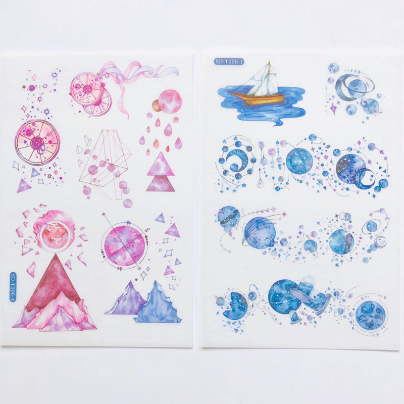 6 Sheets /Pack Night Starry Sky Planet Moon Whale Paper Decoration Sticker DIY Album Diary Scrapbooking Label Sticker