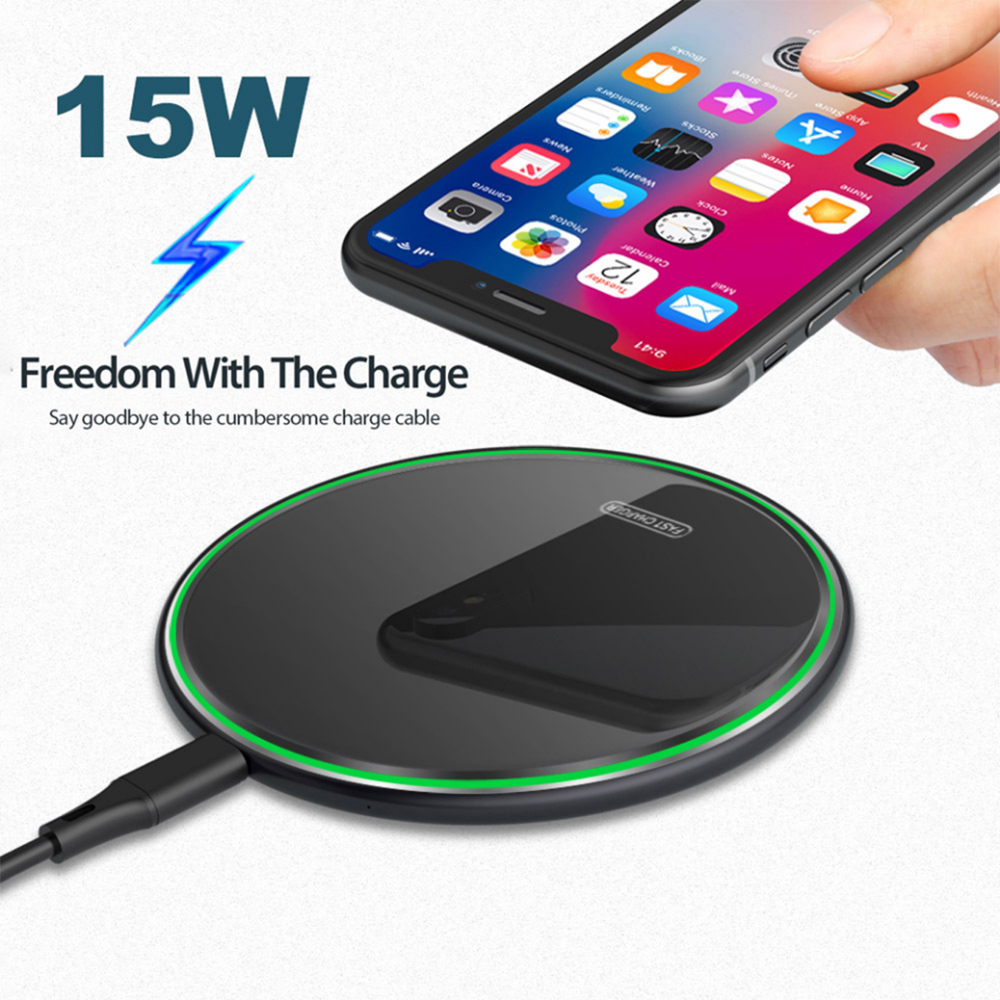 Qi Wireless Charger 15W/10W/7.5W Fast Mobile Phone Charger For iphone 11 X XS 8 For Samsung Galaxy Note 9 Wireless Usb Charging title=