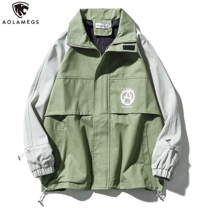 Aolamegs Jackets Men Drawstring Stand Collar Jackets Casual Coat High Street Style Vintage Windbreaker Fashion Streetwear Autumn