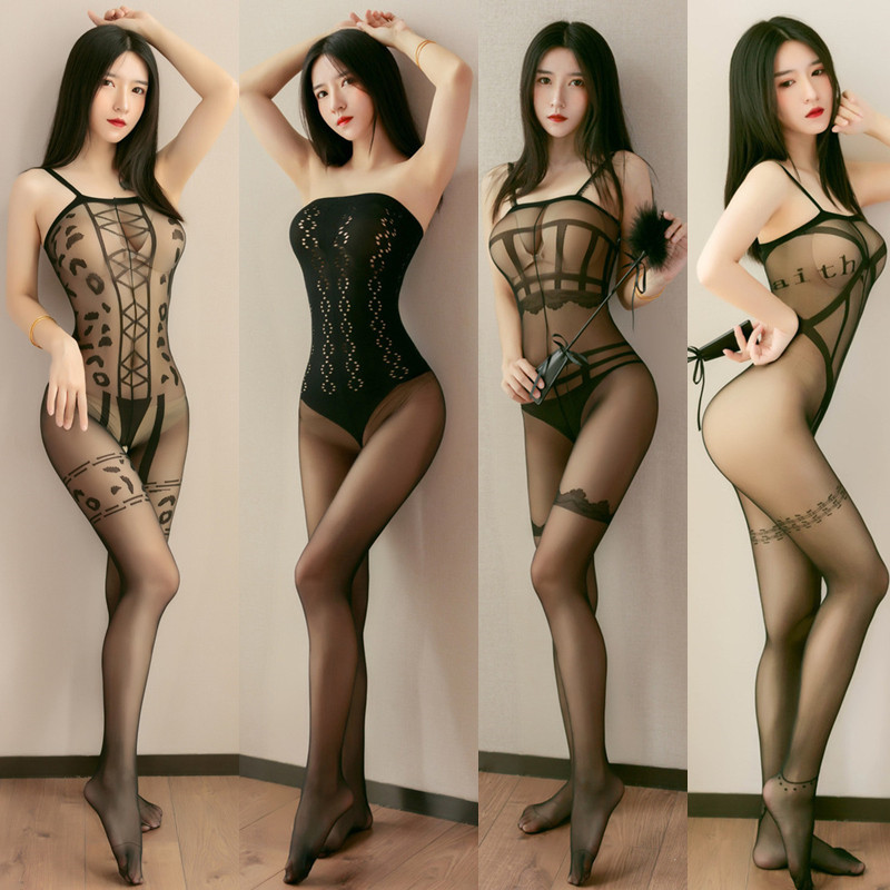 Women Open Crotch Sexy Tights Sexy Lingerie See Through Transparent Nylon Pantyhose Long Body Stockings Hosiery Plus Size