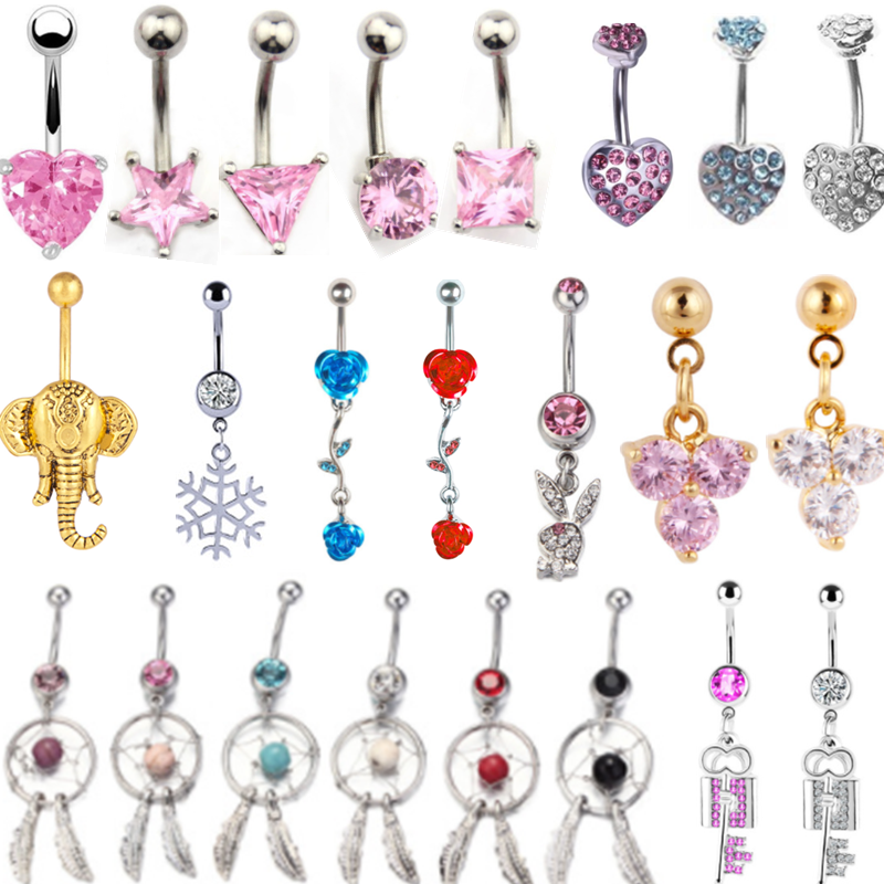 Pink Heart Belly Ring Navel Ring Body Piercing,Belly Button Ring