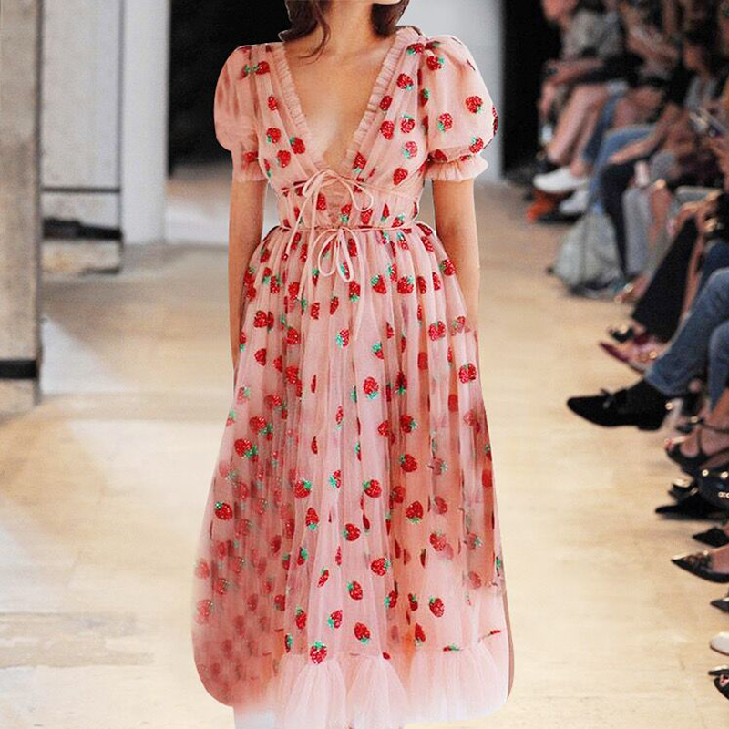 Runway Rhinestone Diamonds Strawberry Pink Mesh Maxi Dress Women Short Puff Sleeve Sexy V-neck Lace-up Bow Tunic Lolita Dress (2)