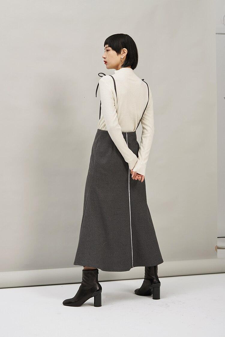 High Waist Gray Split Joint Bandage Temperament Trumpet Half-body Skirt Women Fashion Tide New Spring Autumn 2020