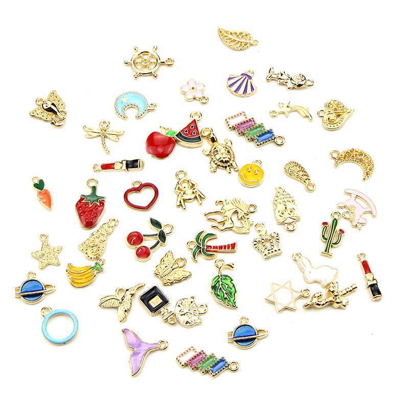 50pcs Mix Gold Metal Enamel Charms For Earring Fashion Jewelry Making Charm And Pendants For Bracelet Dangle Assorted Mixed Lot