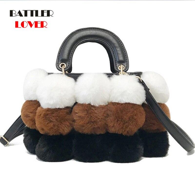 2019 New Women Winter Faux Fur Shoulder Bag Handbag Lady Ball Shaped Fur Handbag Female Party Small Girl Tote Bag Christmas Gift