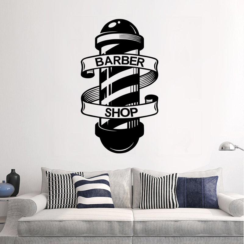 Barber Shop Sticker Name Chop Bread Decal Haircut Shavers Posters Vinyl Wall Art Decals Decor Windows Decoration Mural Ml012