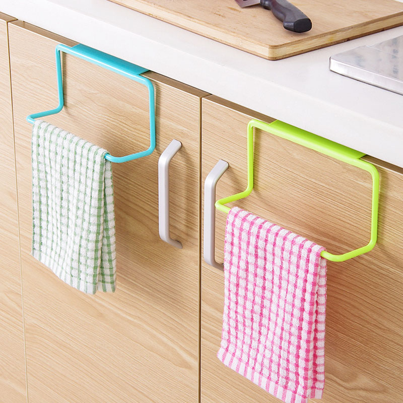 1Pcs Plastic Hanging Holder Towel Rack Multifunction Cupboard Cabinet Door Back Kitchen Accessories Home Storage Organizer