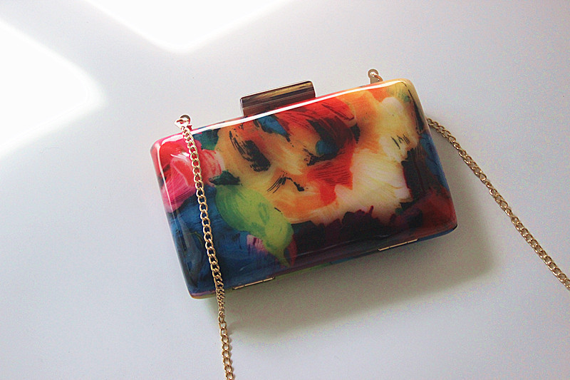 2020 patchwork Acrylic Clutch Bag Female Evening Bags wedding banquey wallets chain purse for ladies drop shipping MN1656