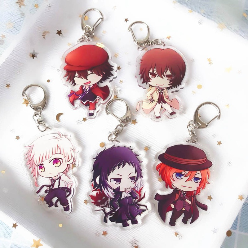 Bungo Stray Dogs Key Chain Bungou Stray Dogs Keychain Anime Keychains Tsumamarekko Dazai Atsushi Ranpo Akutagawa Chuya