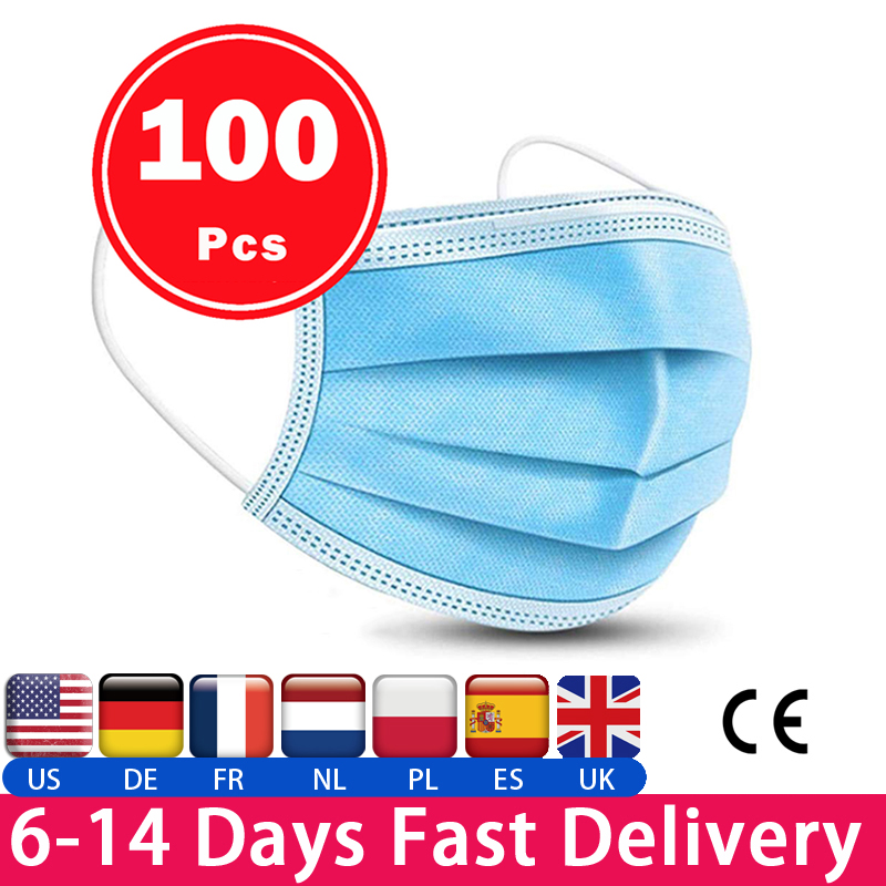 3 layer mask Non Woven Disposable Meltblown Cloth Masks and N95 Dustproof Anti-fog Breathable Face Masks as KN95 KF94 FFP2 FFP3 title=