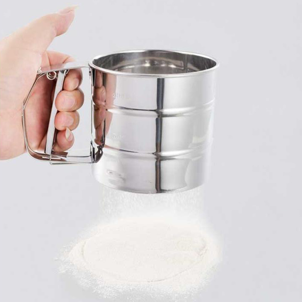 1Pc Stainless Steel Mesh Flour Sifter Mechanical Baking Icing Sugar Shaker Sieve title=