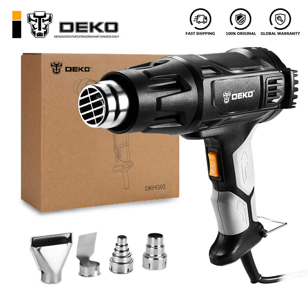 DEKO 220V Heat Gun 2000W Variable 2 Temperatures Advanced Electric Hot Air Gun with Four Nozzle Attachments Power Tool