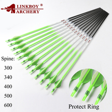 Linkboy Archery Pure Carbon Arrows ID6.2mm Spine300 340 400 500 600 for Compound Traditinal Recurve Bow Hunting Accessories 12ps