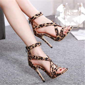 2020 Summer Ladies Sandals Fashion Sexy Brown Leopard Fish Mouth Open Toe Buckle With Cross Straps Thin High Heel Sandals Pumps