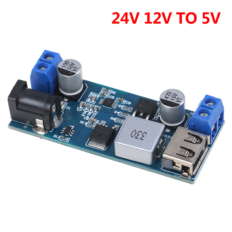 1PCS Hot New Adjustable DC-DC 24V 12V to 5V 5A Step Down Power Supply Buck Converter USB Step-down Charging Module Dropshipping