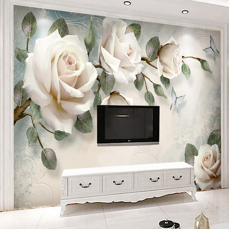 Jointless Custom Mural Wallpaper Modern Hand Painted Oil Painting Floral European Style 3D Rose TV Background Decor Wall Paper