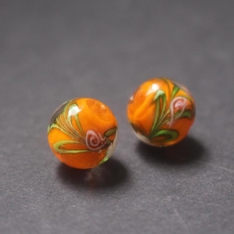 Handmade Lampwork Glass Rondelle Beads Orange Stripes 10