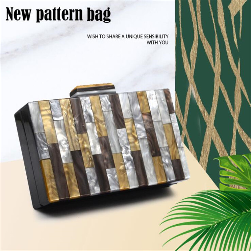 2020 new women evening clutch bags colorful striped wedding banquet bags with chain party shoulder bags drop shipping MN1639