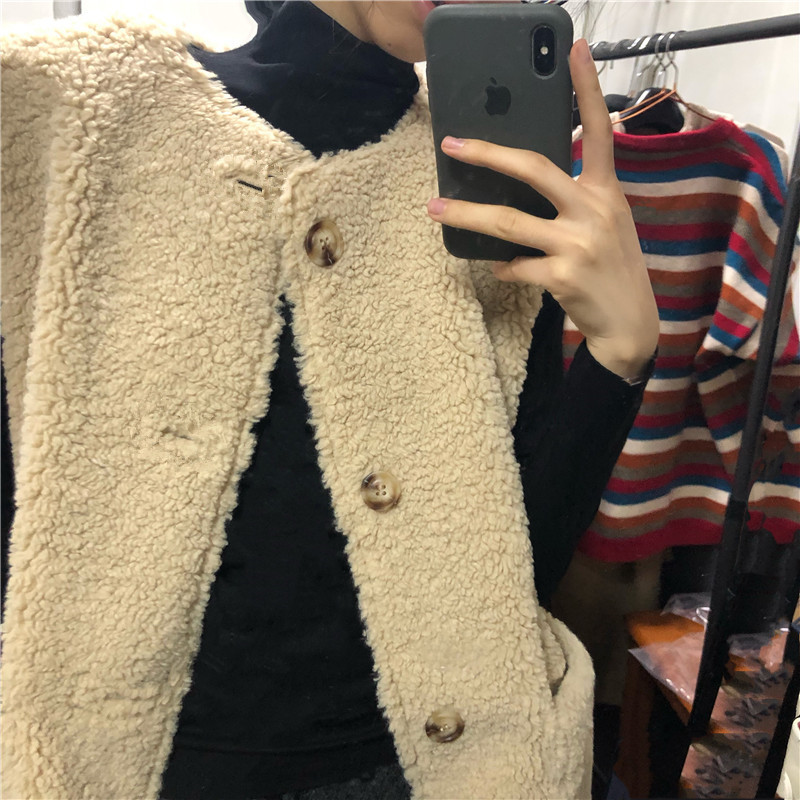 Women Loose Lazy Warm Vest Female Casual Warm Lamb Wool All-match Waistcoat Ladies Solid Quality Tops New Fashion Autumn 2020
