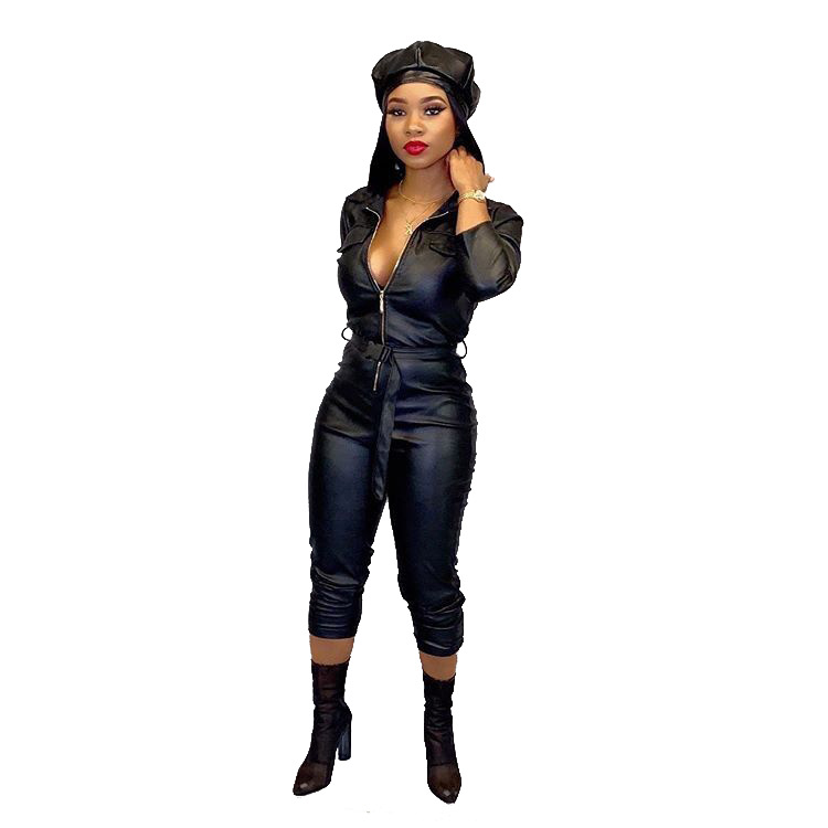 Women Winter Jumpsuit  PU Leather Casual Black Long Sleeve Jumpsuit Bodycon Outfits Sashes Night Club Party Rompers overalls
