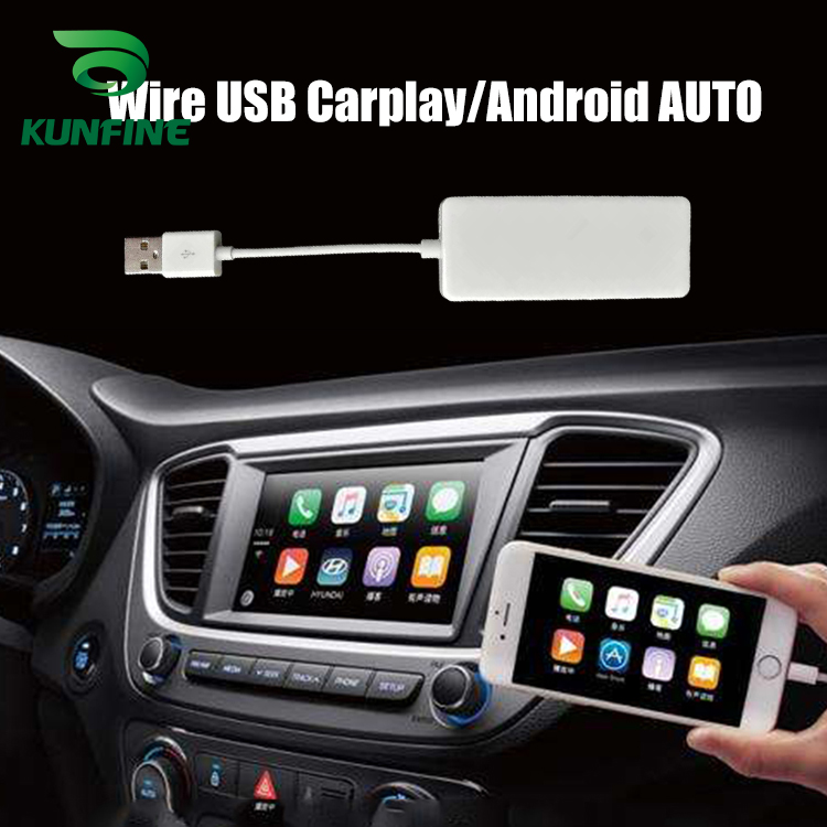 KUNFINE Wireless Wire Apple CarPlay Dongle for Android Car stereo Unit USB Carplay Stick with Android AUTO (1)