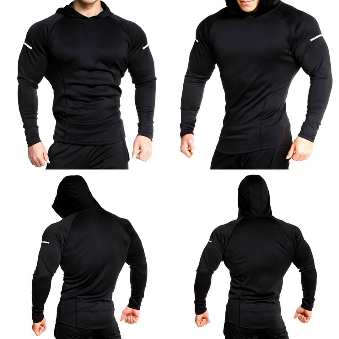 Men Long Sleeve Shirt Solid Shirt with Hoodie Hodybuilding Tshirts Men Jogger Workout Light Weight Hoodies