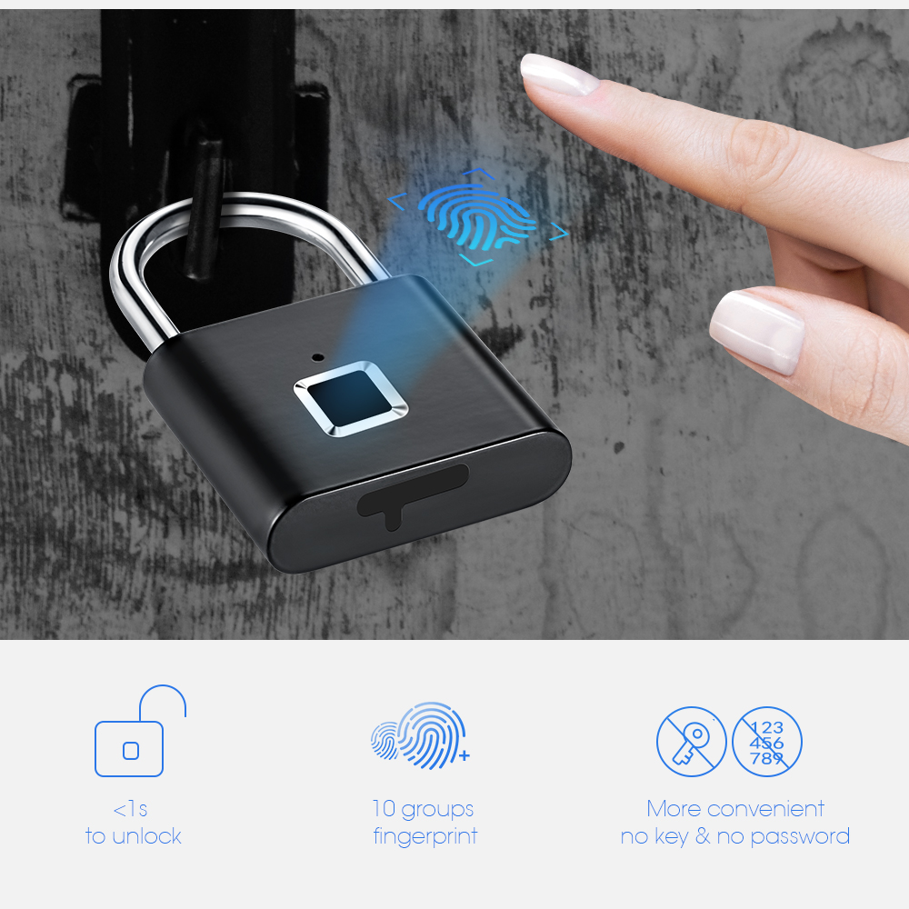 Door-Lock Self-Developing-Chip Fingerprint USB Metal Zinc-Alloy Quick Golden-Security title=