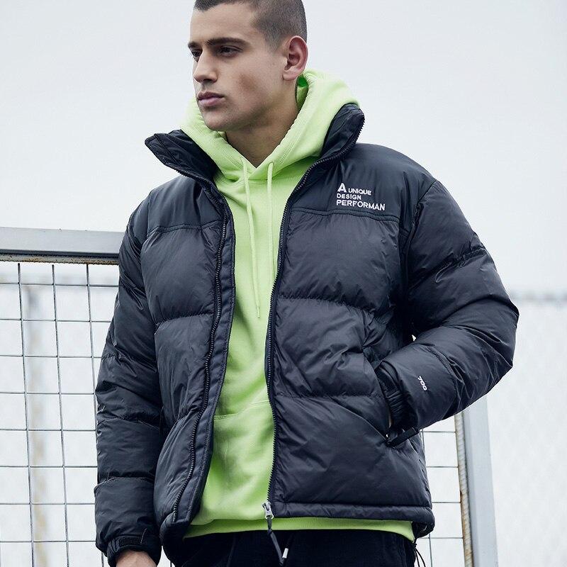 YYear Men Winter Thicken Hooded Fleece Lined Outwear Letters Print Casual Warm Puffer Jacket