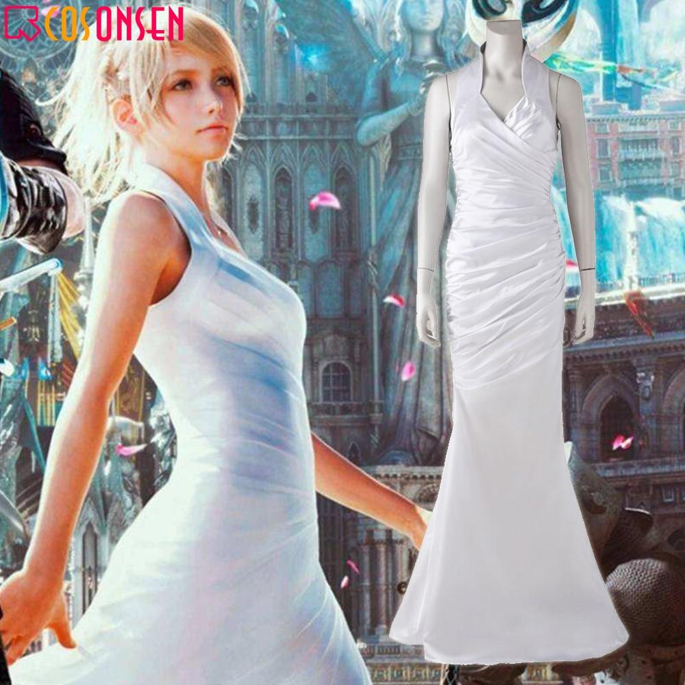 Final Fantasy XV Lunafreya Nox Fleuret Princess White Dress Cosplay
