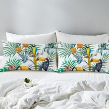 2pcs Hot Toucan Pillowcase Tropical Plant Decorative Pillow Case Pineapple Print Pillow Cover Flower Bedding(China)