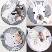 Play Mat Cartoon Animal Baby Mat Newborn Infant Crawling Blanket Cotton Round Floor Carpet