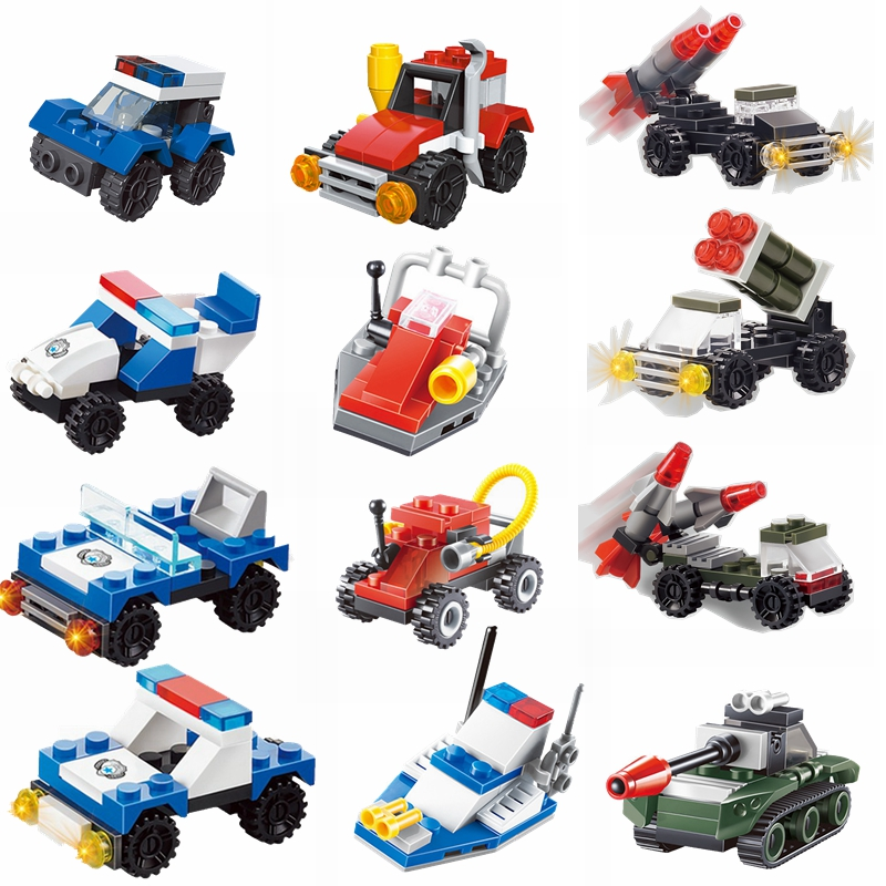 MOC 2019 City Building Block Cartoon Car Tank Missile Vehicle Fire Truck Blocks Children Toy & Hobbies City MOC Children