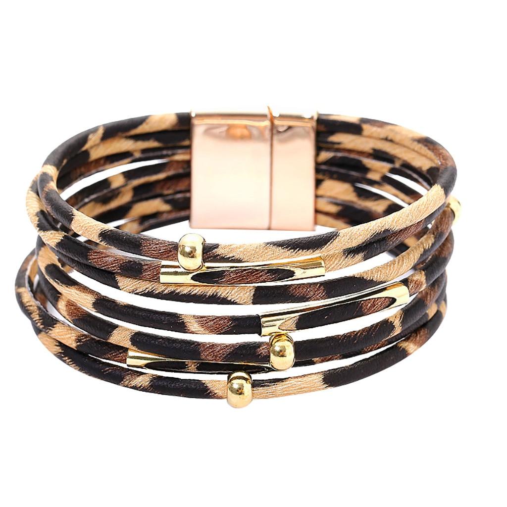 Multilayer Women Jewellery Leopard Faux Leather Print Boho Magnetic Bracele