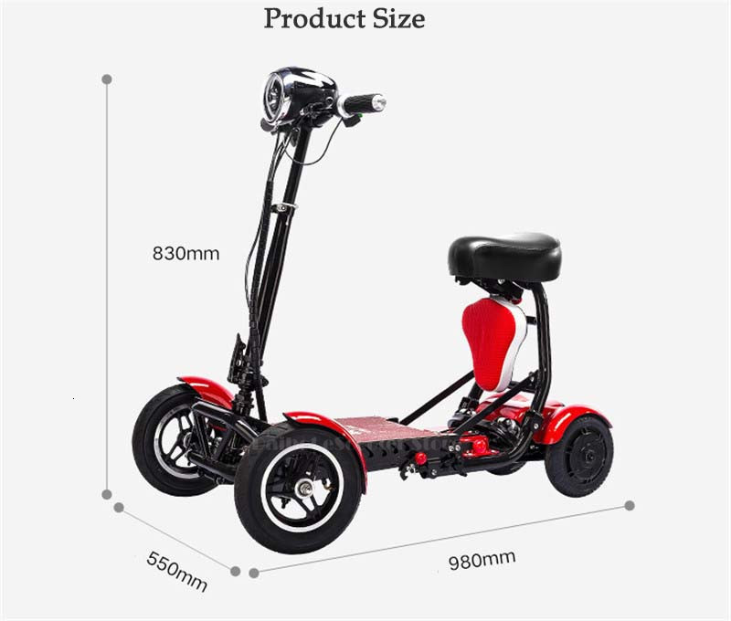 Daibot Electric Elderly Scooter 4 Wheels Electric Scooters 10 Inch 500W Foldable Electric Scooter For Disabled BlueBlackRed (11)