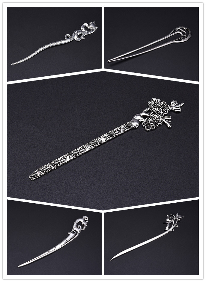 New 1PC Women Vintage Hair Sticks Pins Elegance Silver Geometric Headbands Lady Gift Barrettes Clip Accessories