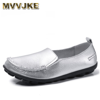 MVVJKE20 Color Genuine Leather Loafers Women Flat Slip-On Shoes Female Shallow Ballet Flats Casual Female Plus Size Ladies Shoes