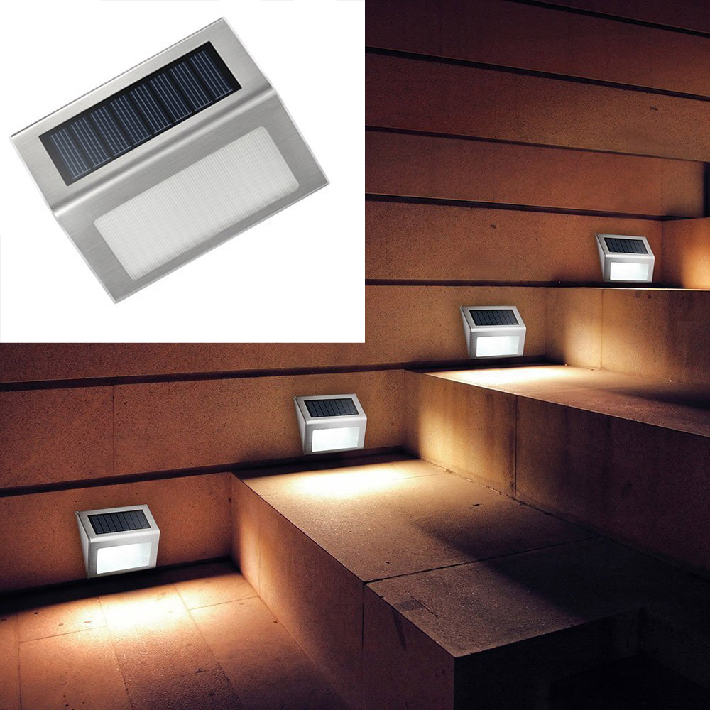 3-LED Outdoor Garden Solar Power Light Stair Step Wall Pathway Yard Lamp Walkway