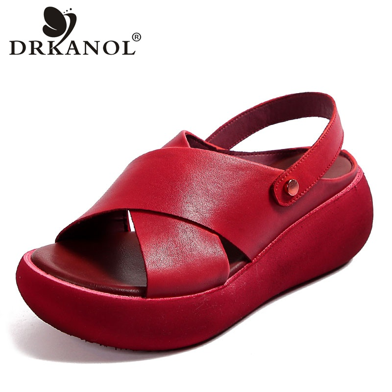 DRKANOL Fashion Handmade Women Sandals 2020 Summer Shoes Genuine Leather Wedges Sandals Women Peep Toe Casual Platform Sandals