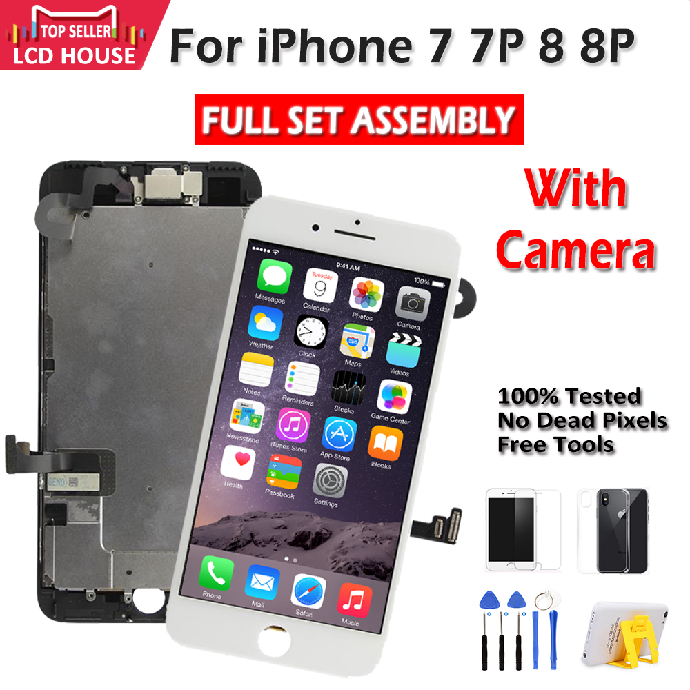 No.1 Full Set LCD Screen For iPhone 7 8 Plus LCD Assembly Complete Touch Digitizer Screen Replacement AAA Display Front Camera