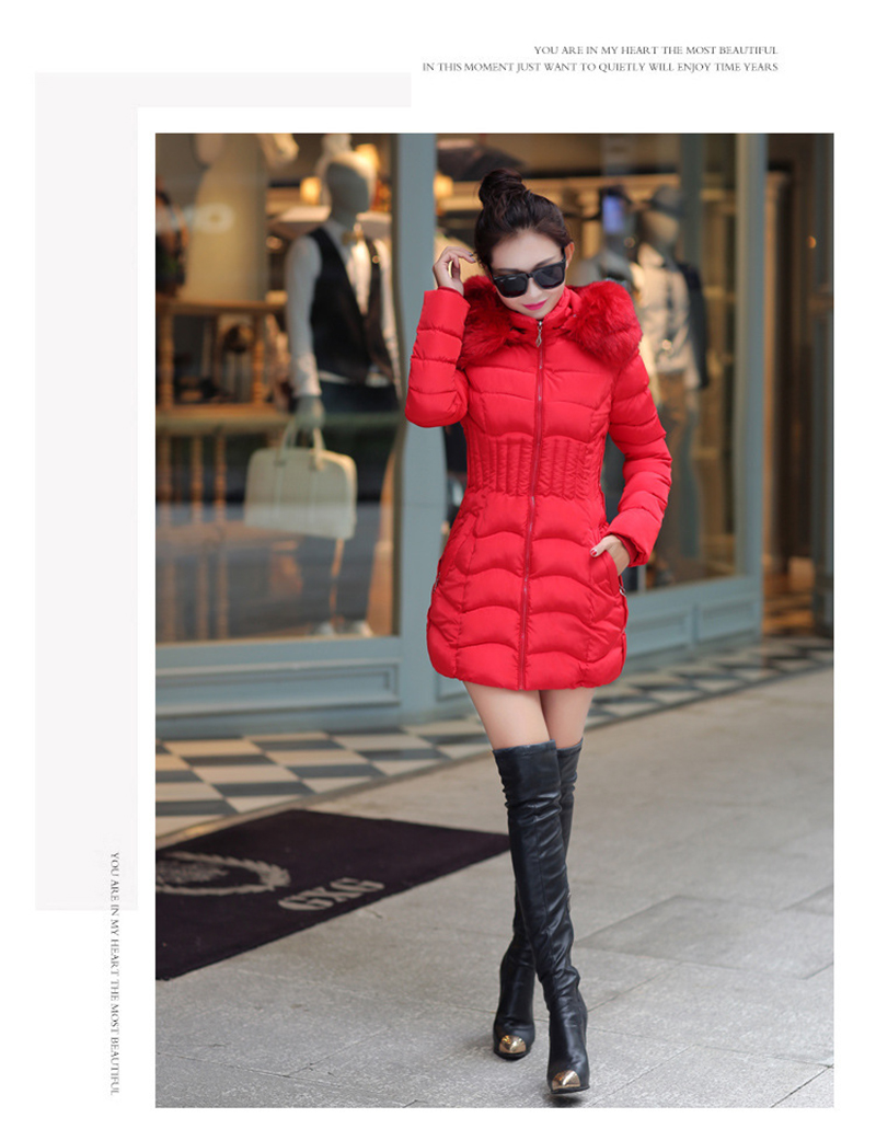 Winter Long Women Coats Parkas Slim Pleated Black Female Coat Outwear Fashion Disassembled Hooded Cotton Women Jackets MLD1271 11