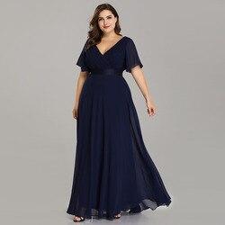 Вечернее платье Ever Pretty EP09890 большого размера, элегантное шифоновое Формальное вечернее платье с треугольным вырезом и оборками, платье для ...