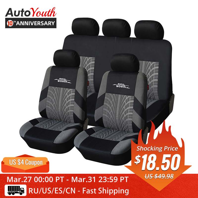 AUTOYOUTH Car-Seat-Covers-Set Fit Tire-Track-Detail Styling Universal Brand with Embroidery title=
