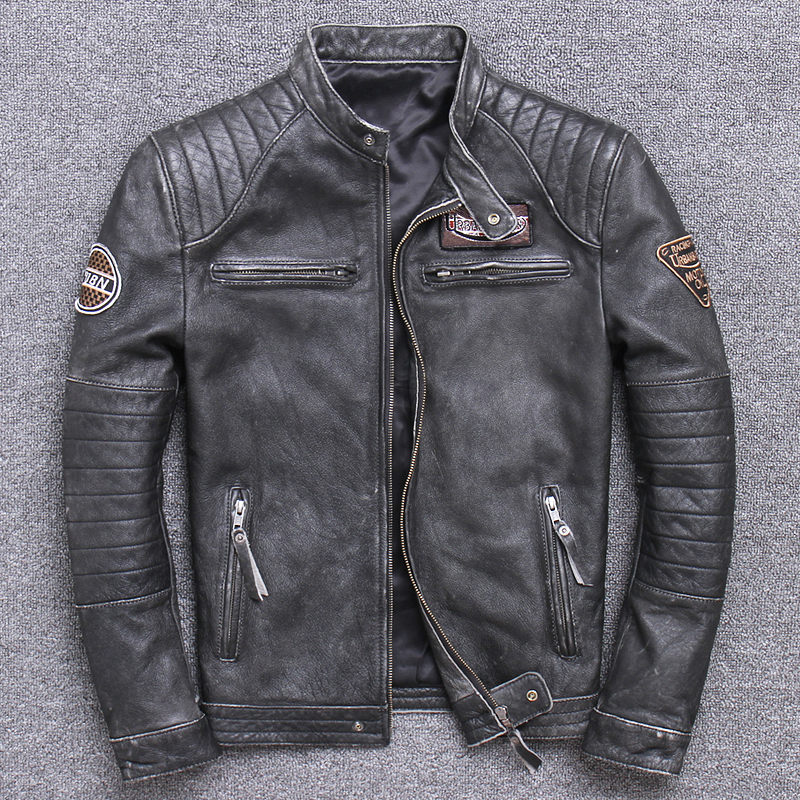 Free shipping,Biker Brand style Vintage men's quality genuine leather Jacket slim 100% natural cowhide coat.leather clothing