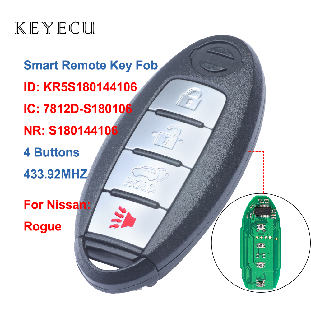 Keyecu S180144106 Smart Car Remote Key Fob 4 Button 433.92Mhz 4A Chip for Nissan Rogue 2014 2015 2016 2017 2018, KR5S180144106