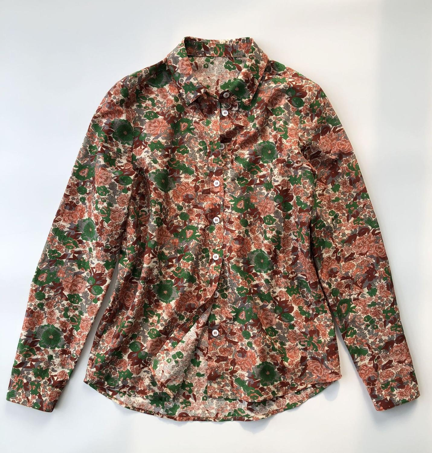 Long Sleeve Turn-down Collar Women Blouse 2020 New Spring Summer Silk and Cotton Flower Print Female Sweet Shirts Tops