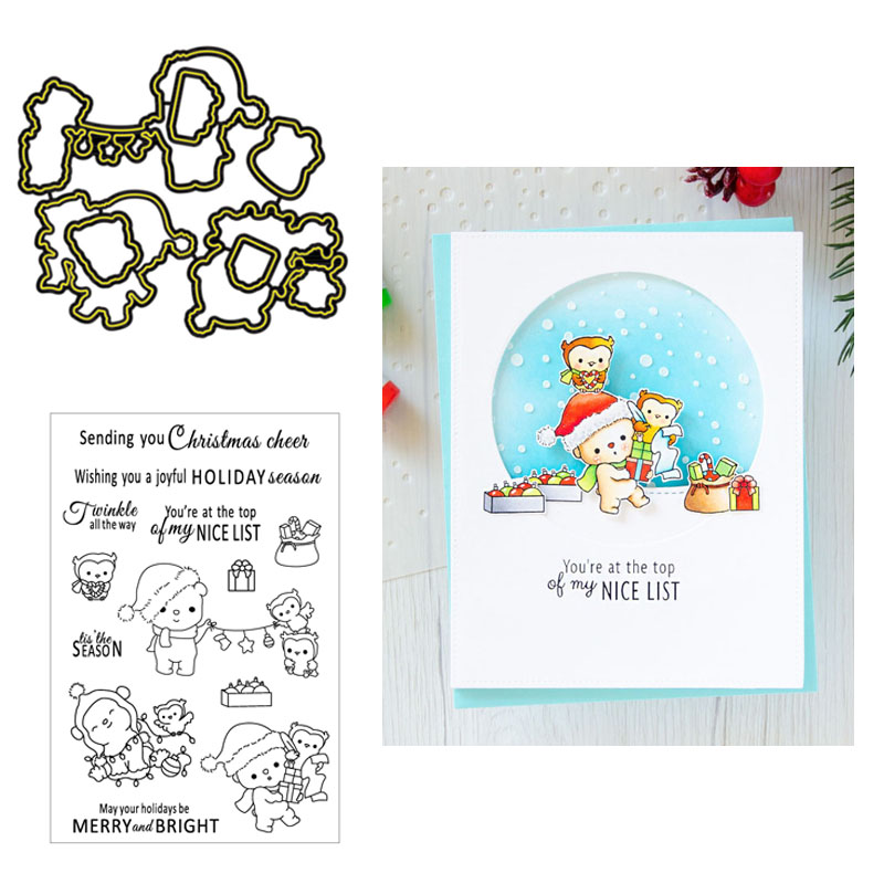 Paper Card Christmas Dwarf Cut Dies+Clear Stamp Embossing Stencils Scrapbooking