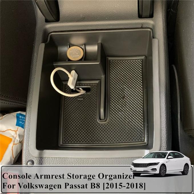 Lianhe Fit For VW Volkswagen Passat B8 Sedan Variant Alltrack 2015-2017 Armrest Storage Box Center Console Glove Case Tray Bin Container