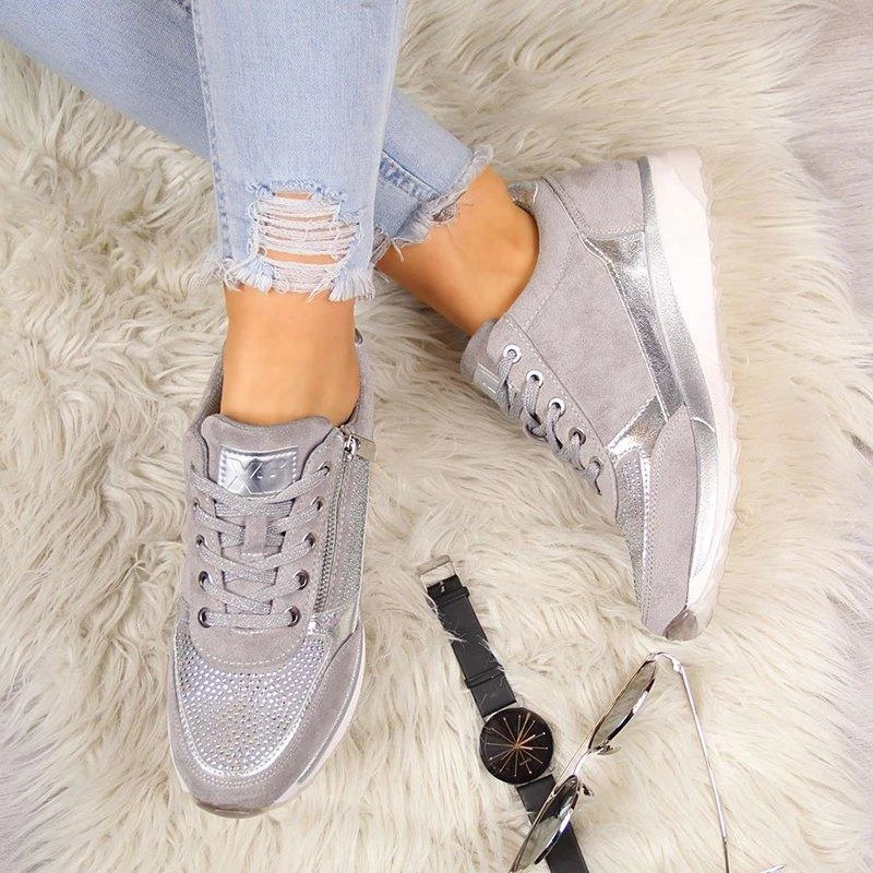 Clothing - Zipper Lace Up Comfortable Ladies Sneakers